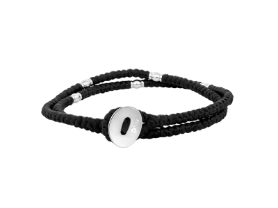 SON Bracelet Black Cord With Steel 37cm