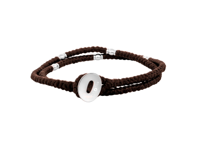 SON Bracelet Brown Cord With Steel 37cm