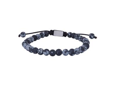 SON Bracelet Matt Snowflake Obsidian 21cm