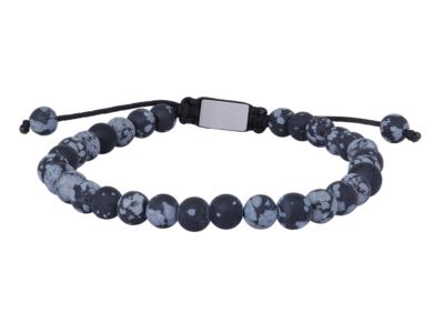 SON Bracelet Matt Snowflake Obsidian 23cm