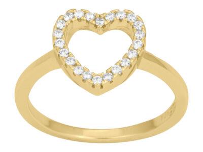 Forgyldt Sølv Ring AIDA Med Hjerte 11mm