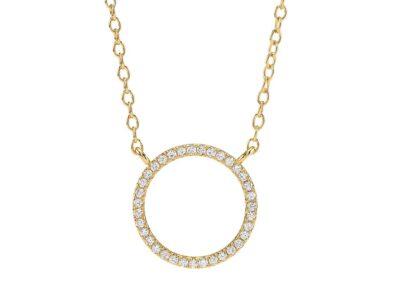 Forg Sølv Cirkel Vedhæng ANNANOR M/ Kæde