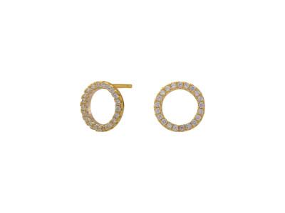 Forgyldt ørestikker ANNA Cirkel Med Cz. 10mm