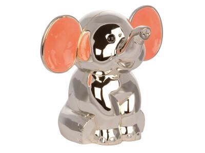 Forkromet Sparebøsse Elefant M. Pink ører